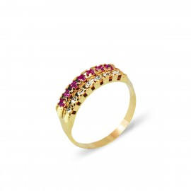 ANILLO DOBLE CINTILLO ROSA